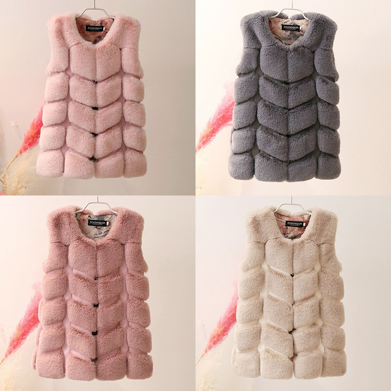 2018 Winter Kids Girls Artificial Fur Vest Coats Children Vest Warm Faux Fur Waistcoat Kids Sleeveless Jackets Girl Outerwear new fox fur vests for girls thicken warm waistcoat children vest baby girls faux fur jackets winter kids outerwear coats 2 12y