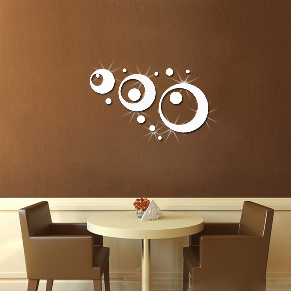 14 Pcs/Set 3D Fashion Acrylic Mirror Surface Wall Sticker Circular Ring Design Removable Wall Art Decoration Golden Silver Color-in Wall Stickers from Home ... & 14 Pcs/Set 3D Fashion Acrylic Mirror Surface Wall Sticker Circular ...