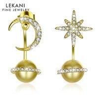 LEKANI New Arrived Crystals from Swarovski 925 Sterling Silver Earring for Women Stars Moon Pearl Pendant Stud Earrings Jewelry