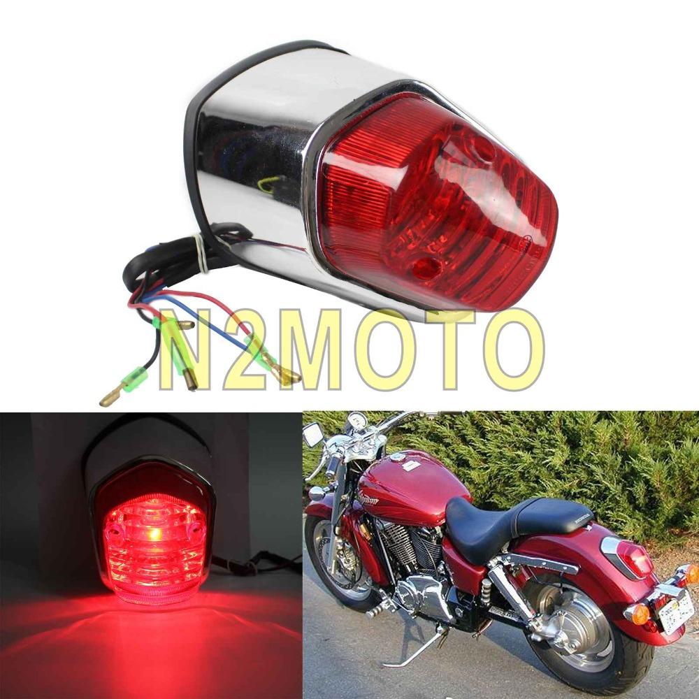 Universal Fender Mount Chrome Red Taillight Brake Stop Tail Light for Harley Cruiser Chopper Honda Shadow 750 ACE