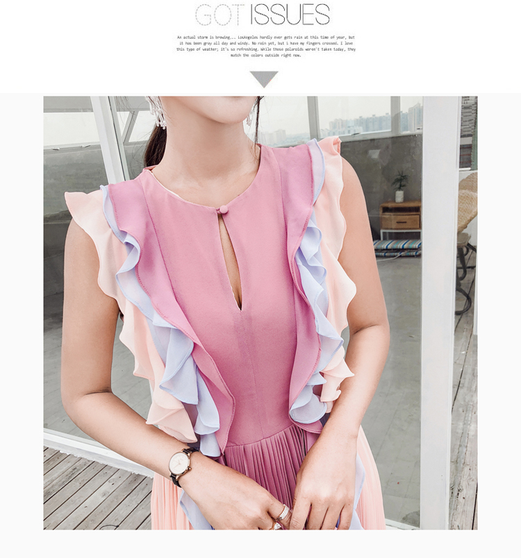 e134ec441fecf6 SMTHMA 2019 High quality luxury runway Summer New arrival pleated Ruffle  Long dress women chiffon rainbow dress-in Dresses from Women's Clothing on  ...