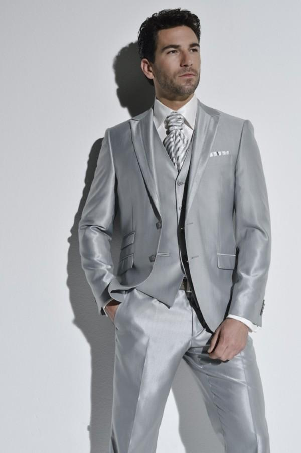 Notch Lapel Silver 2016 Two Buttons Gray Groom Tuxedos Wedding Party ...