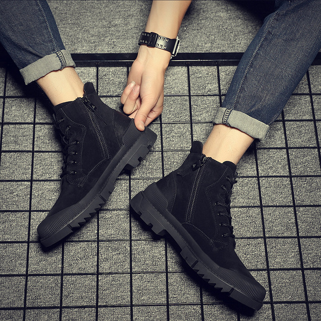 CHAISHOU man sneakers shoes Winter Genuine Leather lace-up round head black flat shoes 4