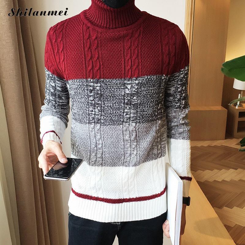 Korea Style Fashion Men Turtleneck Winter Long Sleeve Sweaters 2018 Autumn Casual Knittwear Pullovers Streetwear Tops
