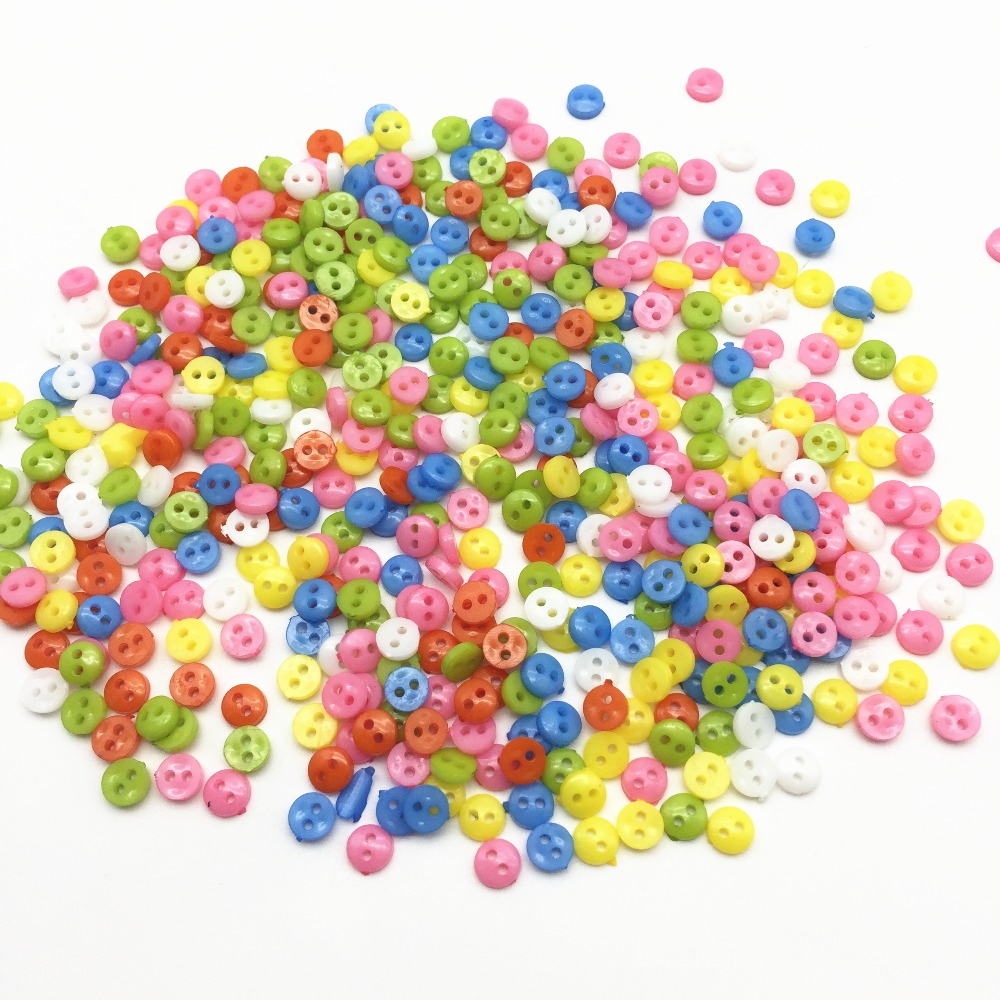 1000pcs 6mm Plastic Bright Multi Mini Doll Clothing Button 2-Holes Flatback Buttons DIY Handmade Sewing Scrapbooking Accessories
