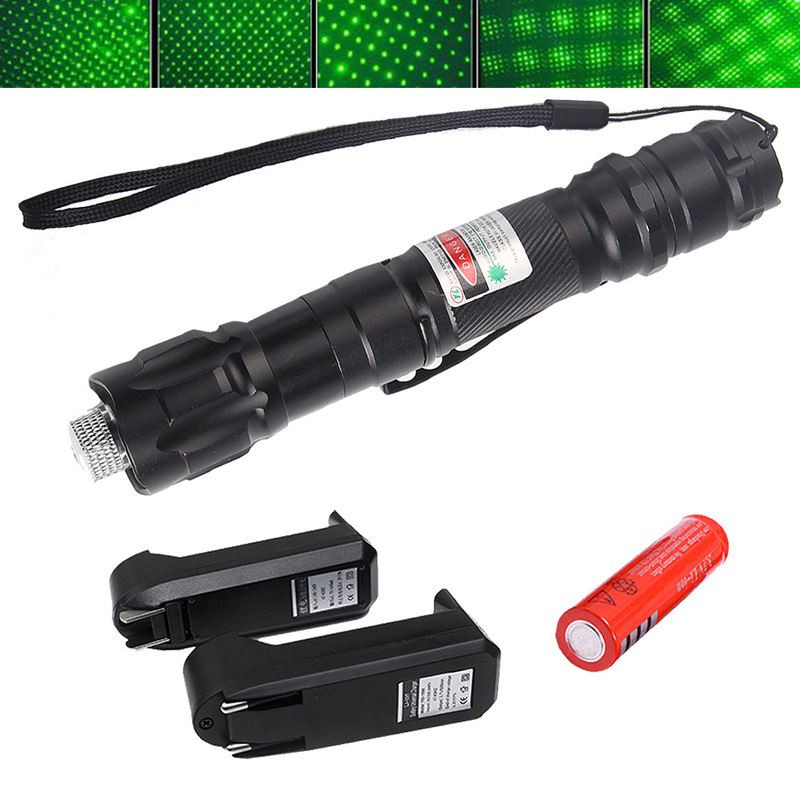 High Power Green Laser Pointer Durable 2 Miles Pen Clip With 18650 Battery + Charger +Star Cap 3-0021