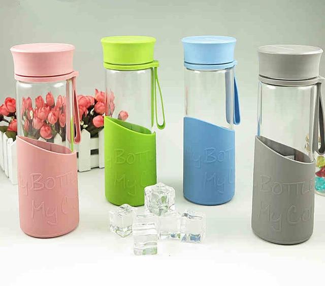 US $38 39  Colorful glass water bottles bule pink glass bottle Heat  resistant glass water bottle 500ml men women Office home water bottle -in  Water