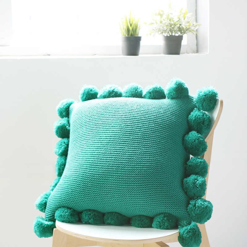Enipate Baru Rajutan Sarung Bantal Warna Murni Bantal Akrilik Bola Rumbai Sofa Kamar Tidur Tekstil Anak Dewasa Kekasih Kecantikan Rumah dector