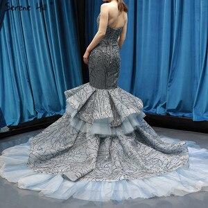 Image 2 - Robe de mariée luxueuse et Sexy gris foncé avec paillettes, modèle sirène, sur mesure, modèle dubaï, modèle 2020