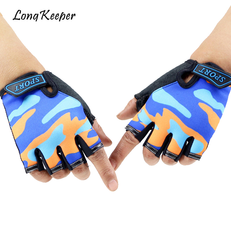 Long Keeper Cute Children Gloves Outdoor Sports Luvas For 4-12 Years Luvas Boys Girls Half Finger Sky Pattern Fingerless Mittens ...