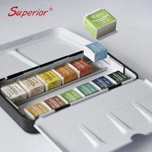 Superior 12/24/36/48 cores pigmento sólido aquarela tintas conjunto com pincel lata caixa aquarela definir fontes da arte