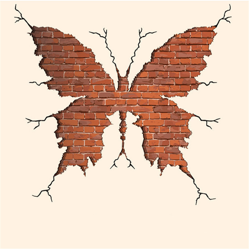 Creative brick butterfly wall stickers living room study bedroom removable insect mural  ...
