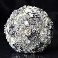 Ebedi Melek 2017 yeni el yapımı GRI broşlar ve kristaller gelin düğün buketi tutan çiçek gelin düğün çiçekleri
