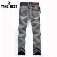 TANGNEST Man's Popular Jeans 2017 Regular Water-washed High Quality Light Grey Plus Size 28-38 For Male Popular For Male 119