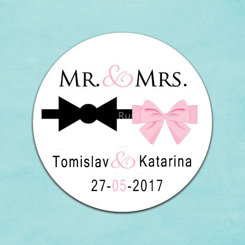 Custom wedding sticker wedding favors personalized mr mrs labelstuxedo bow and pink