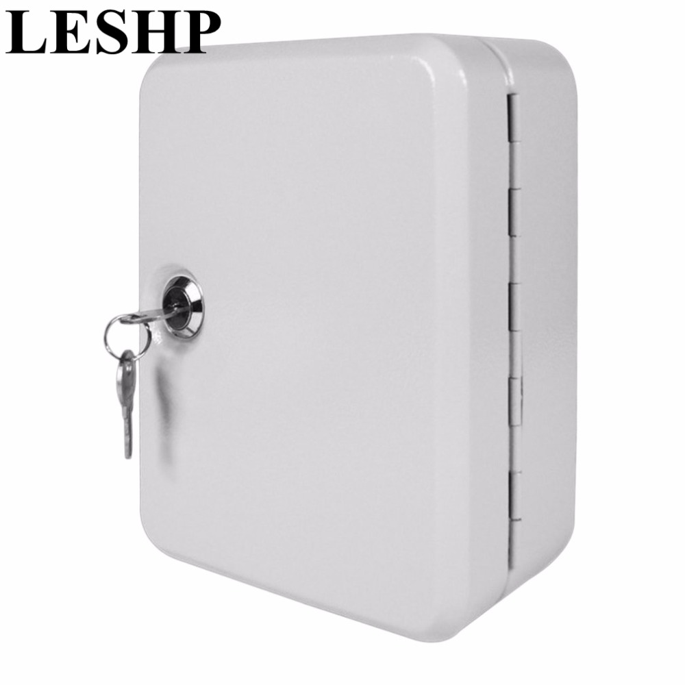 LESHP New Cost-effective Best Price Lockable Security Metal Key Cabinet Safe Storage Box with 20 Tags Fobs Wall Mounted practical key safe box lockable security metal key cabinet storage box safe 20 tags fobs wall mounted key security box wholesale