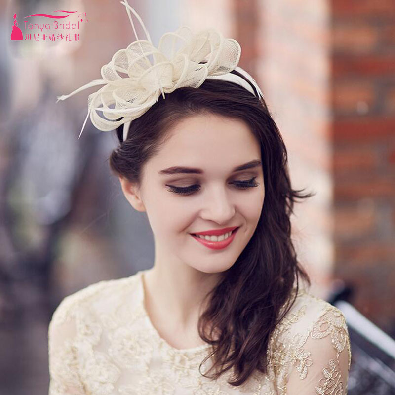 Light Champagne Bridal Hat Fashion boda Wedding Accessories wedding hats and fascinators women Party headWear ZH009