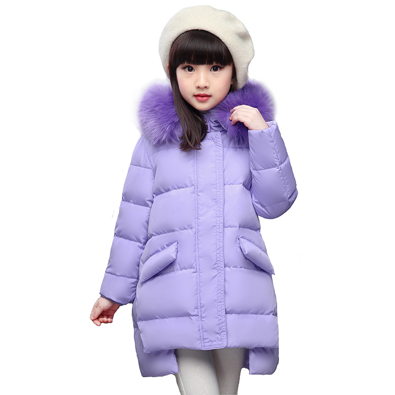 2017 New Design Girls Winter Warm Down Coat Kids Jacket Fur Hooded Casual Thick Duck Down Outerwear Fashion Girls Long Coats 100% white duck down women coat fashion solid hooded fox fur detachable collar winter coats elegant long down coats