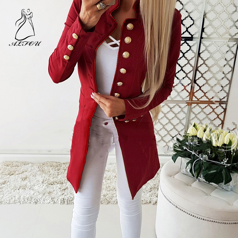 Vintage Single Breasted Women Pockets Jackets Female Blazers Outerwear high quality Long Sleeved Single-breasted Slim Blazer