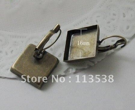 100 шт/партия 16 мм Античная Медная покрытая квадратная площадка французский ушной пустой основа тележки никель свинец