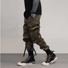 Autumn New Camouflage Cargo Pants Men Military Camo Buckle Straps Streetwear Jogger Pants Men Trousers(China)