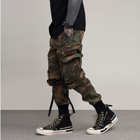 Autumn New Camouflage Cargo Pants Men Military Camo Buckle Straps Streetwear Jogger Pants Men Trousers