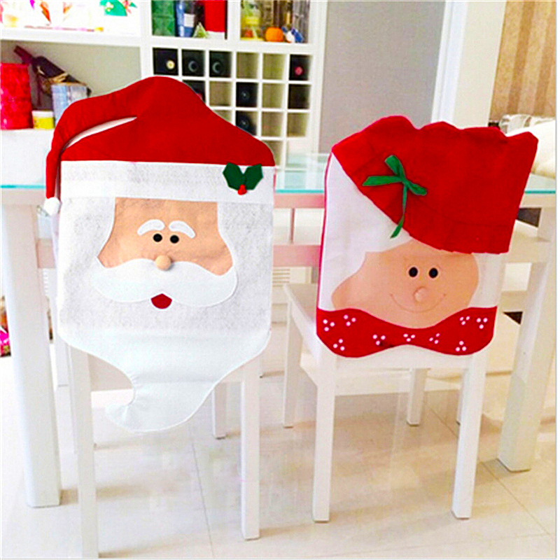 Santa Chair Covers Sets White Leather Eames Lounge 1 Pcs Christmas Cartoon Mr Mrs Claus Dinner Xmas Cap Home