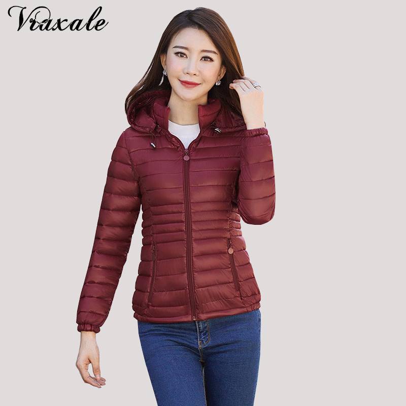 Vraxale Women Short Section Small Coat 2017 Winter New Slim Thin Hooded Female jacket Fashion Cotton Outerwear Plus size 3XL