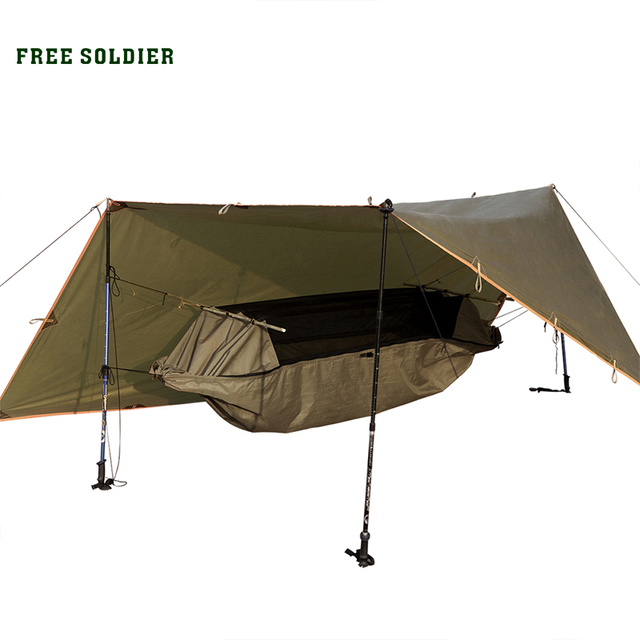 FREE SOLDIER Outdoor Sports Camping Portable Hammock Wear-Resisting Tent Set Awning Multi-function Mat folding PU Waterproof