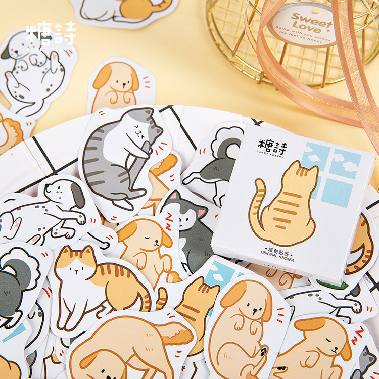 45 Pcs/lot Kawaii Cat Dog Daily Life Paper Small Diary Mini Cute Box Stickers Set Scrapbooking Flakes Journal Stationery