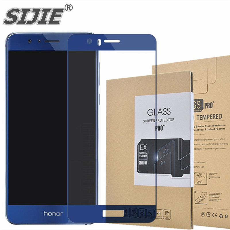 Tela de Vidro Temperado Para HUAWEI honor 8 FRD-AL00 cobertura completa Branco preto ouro azul 5.2 polegada do smartphone protetora temperado 9 H