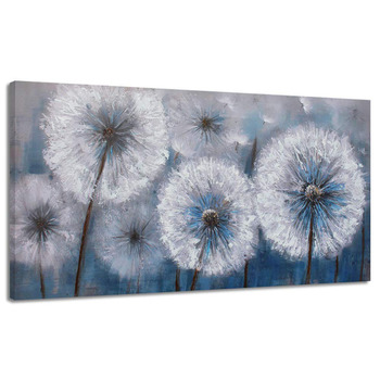 Hand Painted Abstract Oil Painting Painting White Flower Flora Dandelion Plant Home Bedroom Decoration Modern Unframed Artwork