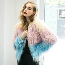 mature parkas faux fur jacket women imitation fur trim coat