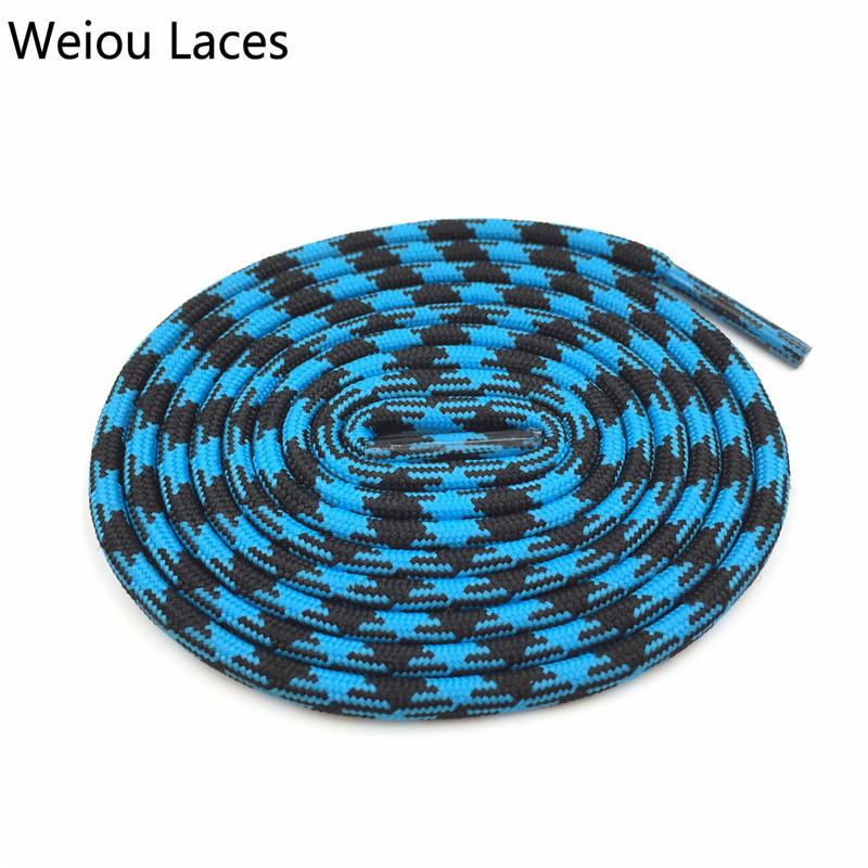 Weiou Black Blue Hiking Bootlace Walking Two Toned Rope Laces Replacement Athletic Shoe Strings Round Shoelaces Rhombus Grain