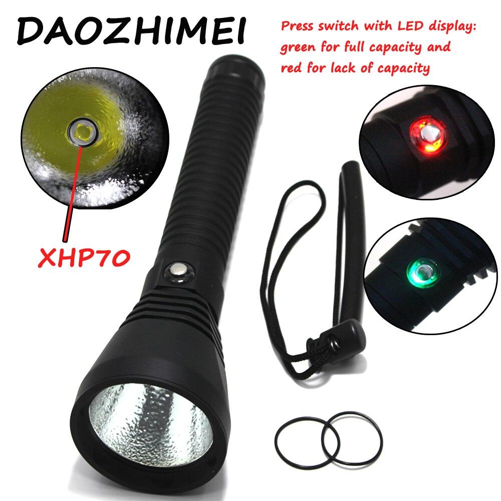 5000 Lumen di Luminosità Super XHP70 LED A Luce Bianca Torcia Elettrica di Immersione Tactical 26650 Della Torcia Subacquea 100 m Impermeabile