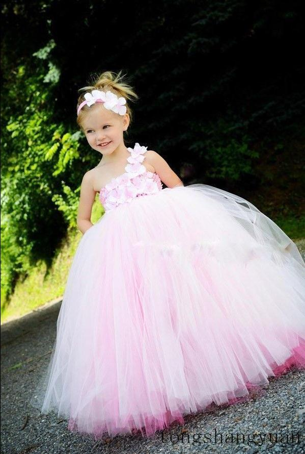 Pink Flower Party Prom Formal Ball Gowns Tulle Wedding Flower Girl Dresses 2-16 hot selling tanger mini uhf male plug pl259 sl16 to sma male right angle plug rf rg58 pigtail jumper coaxial cable 3feet 100cm