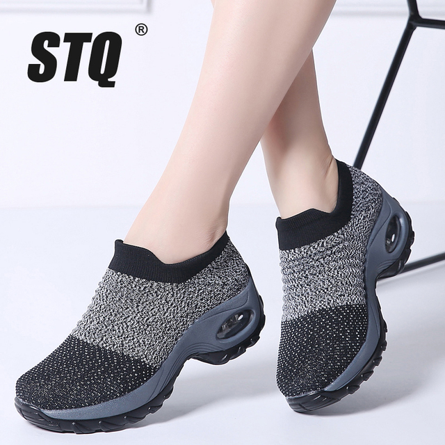 3b312f58118 STQ 2019 Spring women sneakers shoes flat slip on platform sneakers for women  black breathable mesh sock sneakers shoes 1839