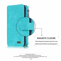 Multifunction Wallet Leather Case For Samsung S6 S7 EDGE NOTE5 Luxury Zipper Purse Pouch Phone Cases