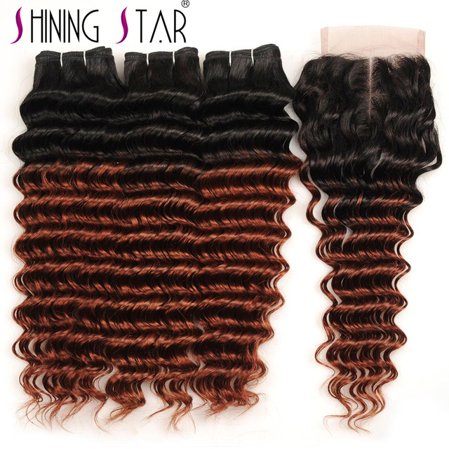 Brazilian 3 Ombre Deep Wave Bundles With Closure 1b 33 Red Brown