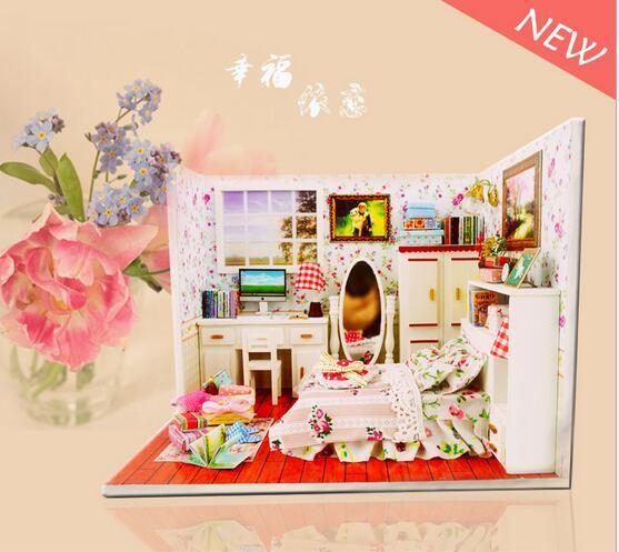 M004 diy dollhouse miniature bedroom wooden doll house include furniture,Lights,dust cover
