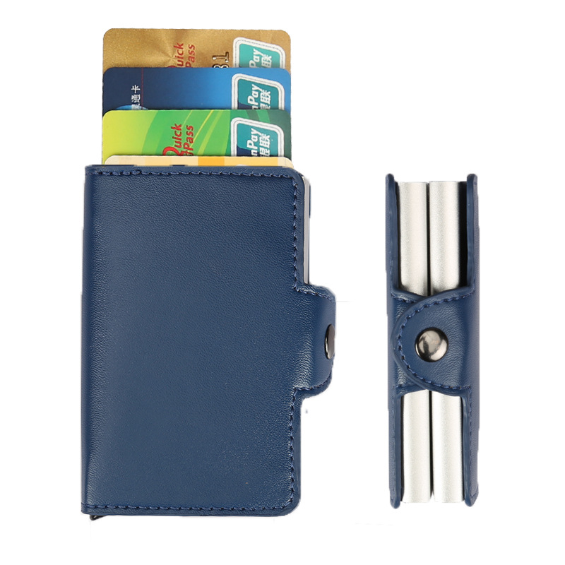 Hot! Automatic Aluminium ID Credit Card Holder Multifunction Men Double Alloy Hasp Leather Business ID Cards Case Wallet for Man middle clerk working id card holder exhibition identification card cover tag aluminium alloy metal staff badge for colleagues
