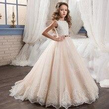 Свет Шампанское кружева Vestidos Блестки Бусы для девочек в цветочек платья для свадьбы для девочек для первого причастия Платья для специальных торжеств