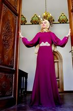 A-line With Hijab Chiffon Purple color Elegant High Collar Long Sleeve Casual Muslim Name Brand Evening Dress