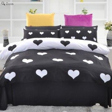 fashion black and white bedding set designer cartoon duvet cover set queen size heart print bed. Black Bedroom Furniture Sets. Home Design Ideas