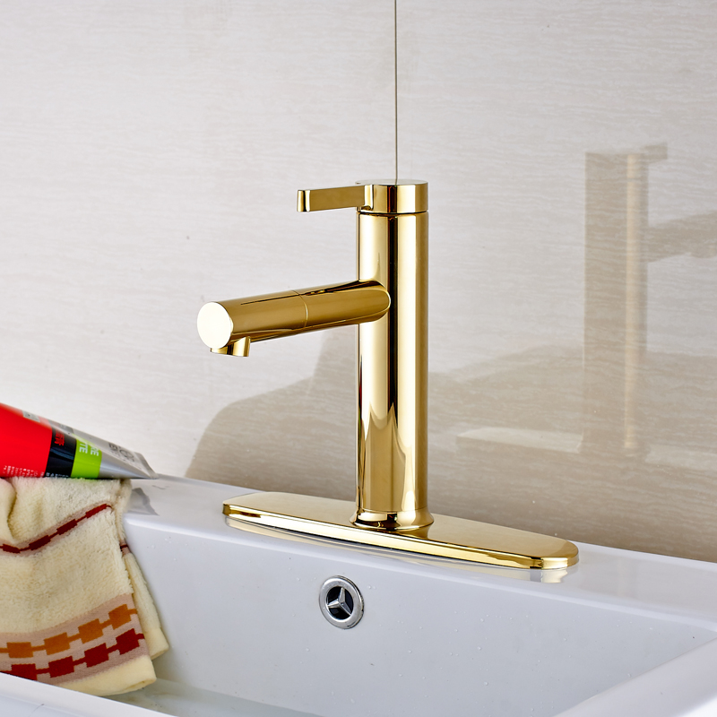цена на Luxury Golden Color Bathroom Sink Faucet Deck Mounted Single Handle Mixer Tap with Cover Plate