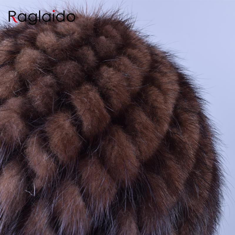 Apparel Accessories ... Hats & Caps ... 32726436747 ... 5 ... Raglaido Knitted Mink Fur Hats for Women Genuine Natural Fur Pineapple Cap Winter Snow Beanie Hats Russian Real Fur Hat LQ11191 ...
