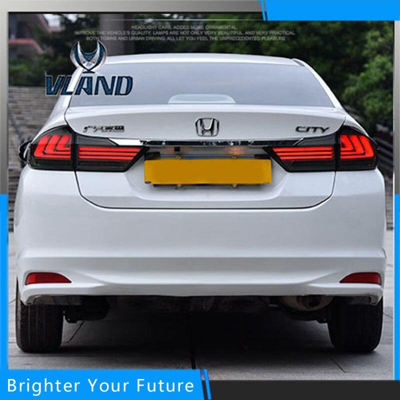 Для укладки автомобиль Аксессуары для Honda города 2014-2016 хвост лампы заднего фонаря ДРЛ+Тормозная+Парк+сигнала
