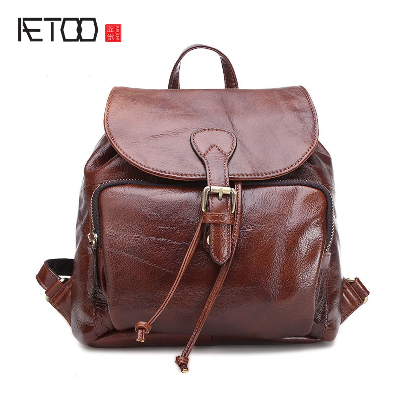 AETOO New leather shoulder bag wholesale womens casual fashion head layer leather trend small backpackAETOO New leather shoulder bag wholesale womens casual fashion head layer leather trend small backpack