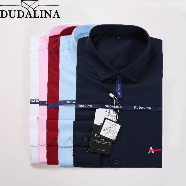 9e5116ef48 Dudalina Homens Camisa Social Masculina 2019 Homens Camisa Do Logotipo  Bordado Manga Comprida Negócios Camisas Casual