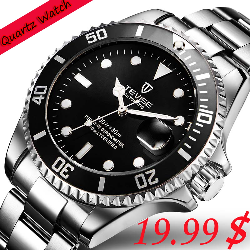 Hot 2018 New Tevise Men Quartz  Watch Automatic Date Fashion Luxury Submariner Clock Male Role Sport Business Clock Reloj Hombre tevise fashion auto date automatic self wind watches stainless steel luxury gold black watch men mechanical t629a with tool